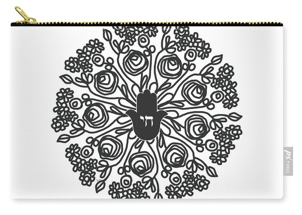 Black And White Hamsa Mandala- Art By Linda Woods Carry-all Pouch