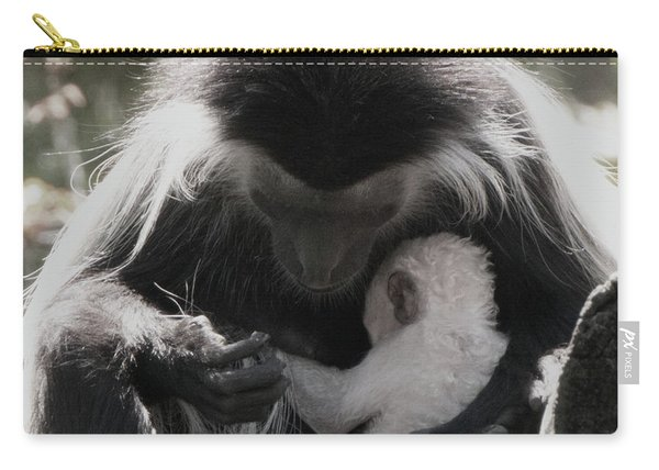 Black And White Image Of Colobus Monkeys Carry-all Pouch