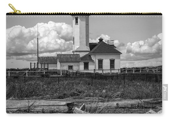 Black And White Lighthouse With Driftwood Carry-all Pouch