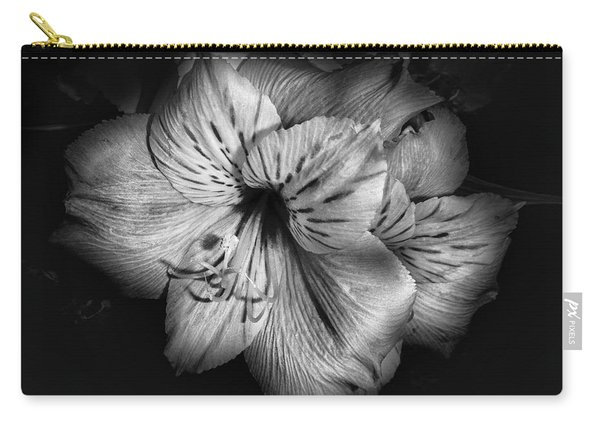 Black And White Lily Carry-all Pouch