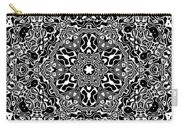 Carry-all Pouch featuring the digital art Black And White Mandala 34 by Robert Thalmeier