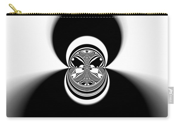 Carry-all Pouch featuring the digital art Black And White Mandala 35 by Robert Thalmeier