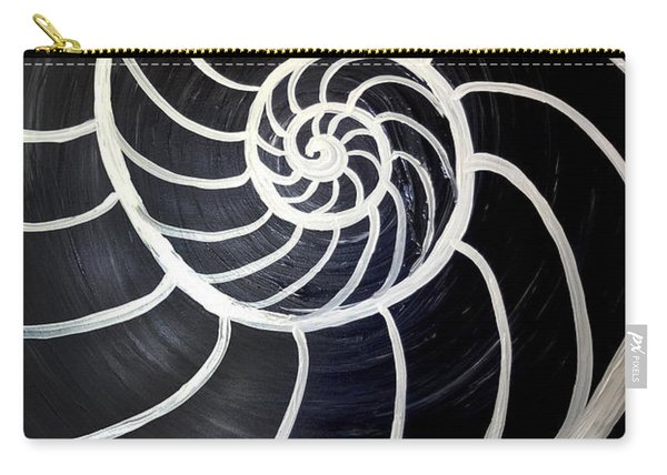Black And White Nautilus Spiral Carry-all Pouch