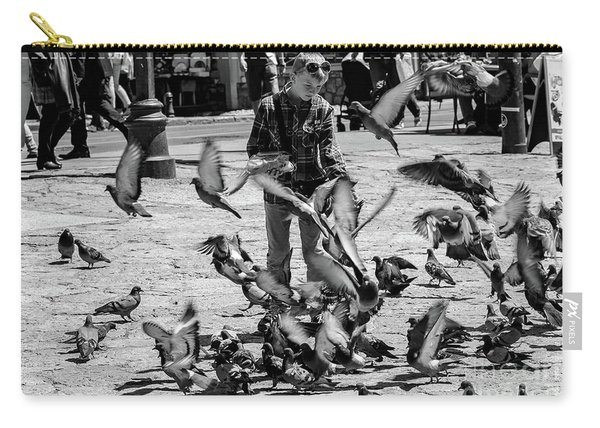 Black And White Of Boy Feeding Pigeons In Sarajevo, Bosnia And Herzegovina  Carry-all Pouch