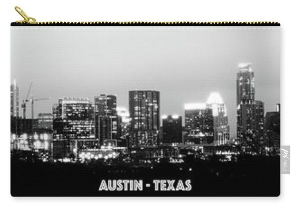 Black And White Panoramic View Of Downtown Austin Carry-all Pouch