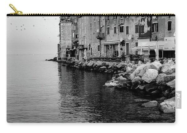 Black And White - Rovinj Venetian Buildings And Adriatic Sea, Istria, Croatia Carry-all Pouch