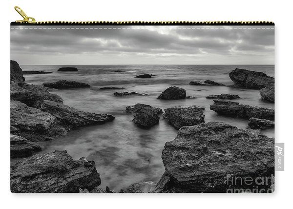 Black And White Sunset At Low Tide Carry-all Pouch