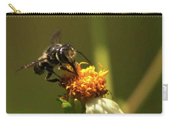 Black And Yellow Bee Pollinating Carry-all Pouch