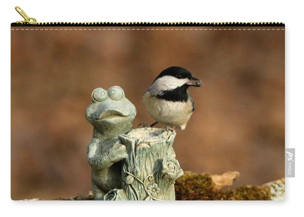 Black-capped Chickadee And Frog Carry-all Pouch
