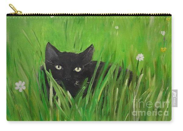 Black Cat In A Meadow Carry-all Pouch