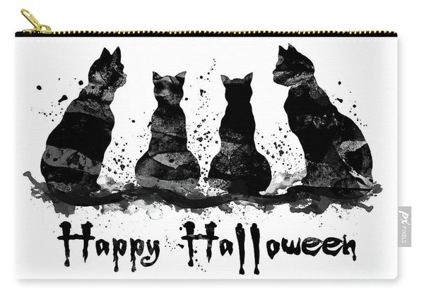 Black Cats Halloween Watercolor Print  Carry-all Pouch
