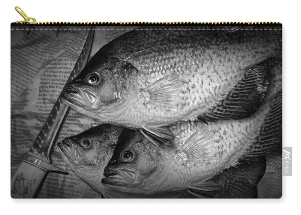 Black Crappie Panfish With Fish Filet Knife In Black And White Carry-all Pouch