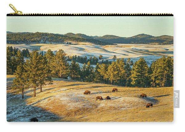 Carry-all Pouch featuring the photograph Black Hills Bison Before Sunset by Bill Gabbert
