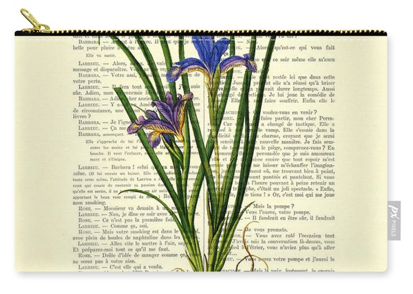 Black Iris Antique Illustration On Dictionary Page Carry-all Pouch