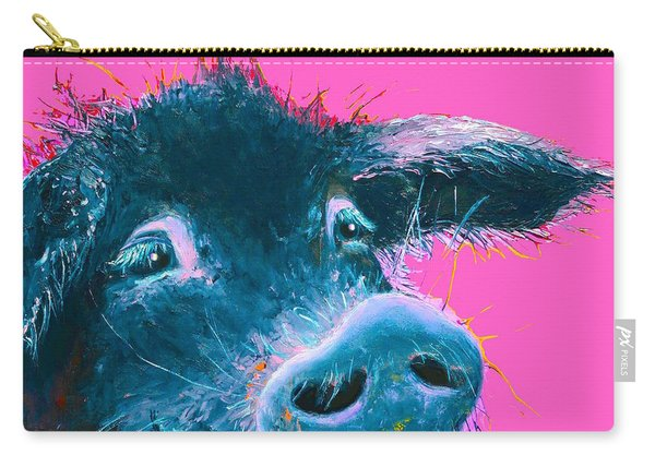 Black Pig Painting On Pink Background Carry-all Pouch
