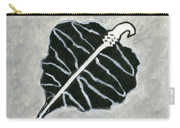 Black Retro Leaf Carry-all Pouch