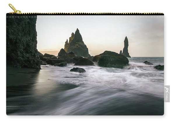 Black Sand Beach In Iceland Carry-all Pouch
