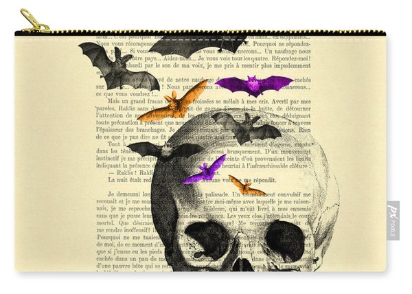 Black Skull And Bats On A Dictionary Page Carry-all Pouch