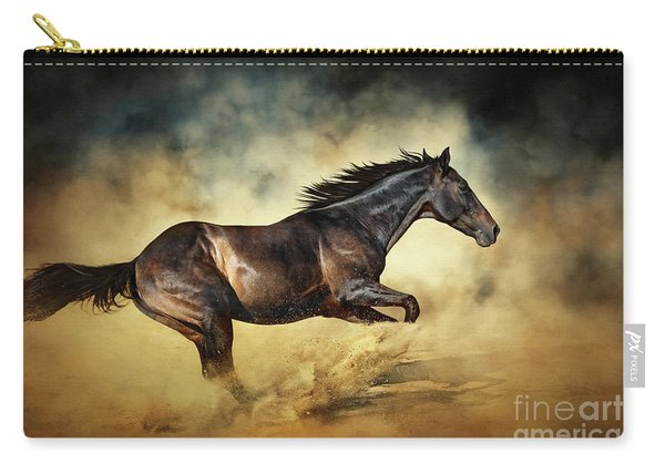 Black Stallion Horse Galloping Like A Devil Carry-all Pouch