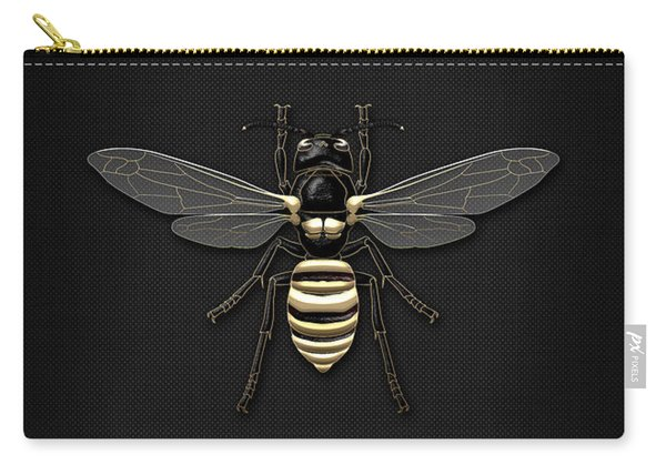 Black Wasp With Gold Accents On Black  Carry-all Pouch