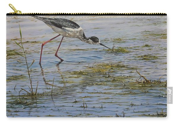 Carry-all Pouch featuring the painting Black Winged Stilt by Alan M Hunt