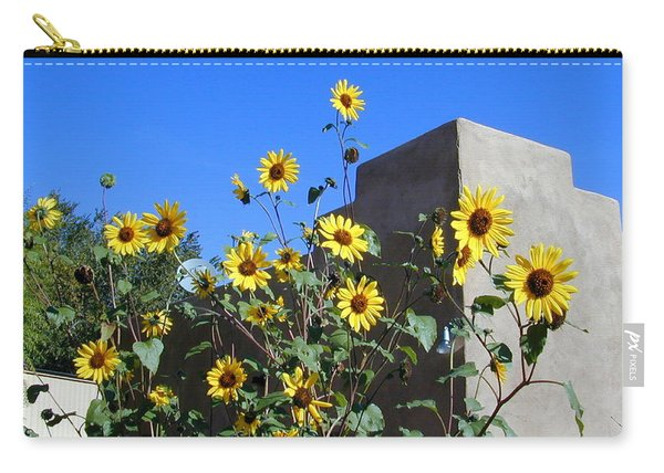 Carry-all Pouch featuring the photograph Blackeyed Susans And Adobe by Joseph R Luciano