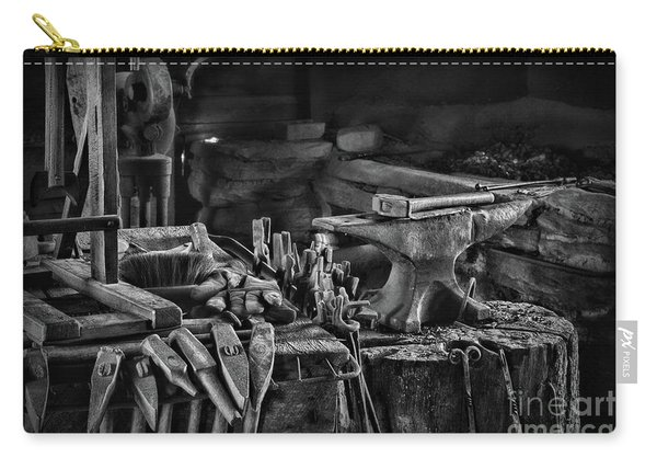 Blacksmith-this Is My Anvil Black And White Carry-all Pouch