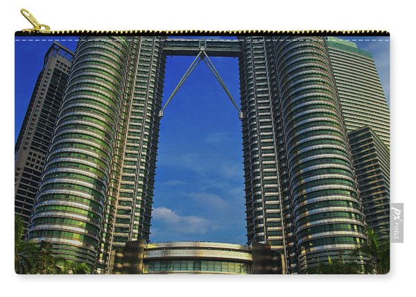 Carry-all Pouch featuring the photograph Blast Off At The Petronas Twin Towers, Kuala Lumpur, Malaysia by Sam Antonio Photography