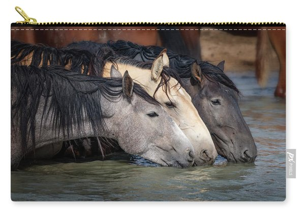 Blended Color Family Of Wild Horses Carry-all Pouch