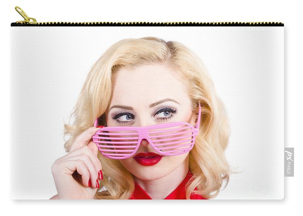 Blond Pinup Girl In Stylish Retro Pink Shades Carry-all Pouch