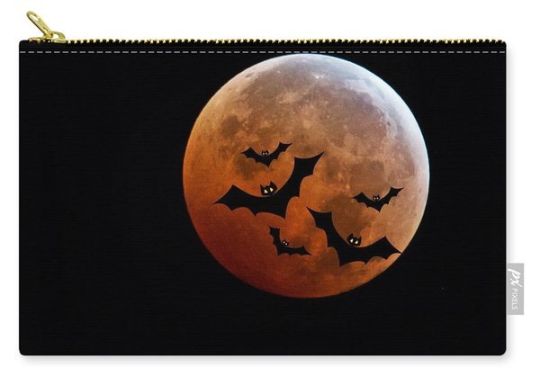 Blood Full Moon And Bats Carry-all Pouch