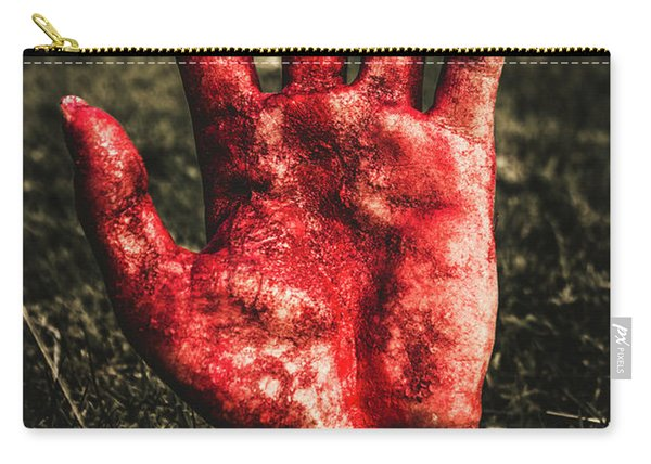 Blood Stained Hand Coming Out Of The Ground At Night Carry-all Pouch