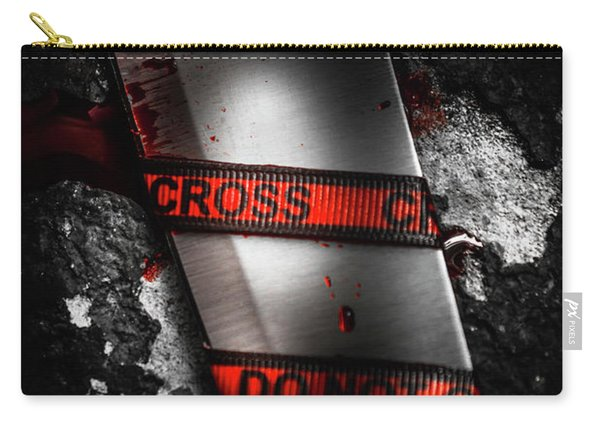 Bloody Knife Wrapped In Red Crime Scene Ribbon Carry-all Pouch