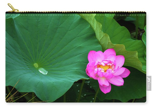 Blooming Pink And Yellow Lotus Lily Carry-all Pouch