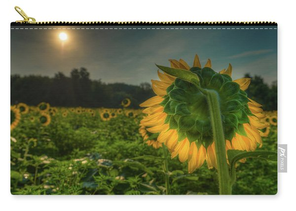 Blooming Sunflower Facing Rising Sun Carry-all Pouch