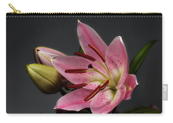 Blossoming Pink Lily Flower On Dark Background Carry-all Pouch