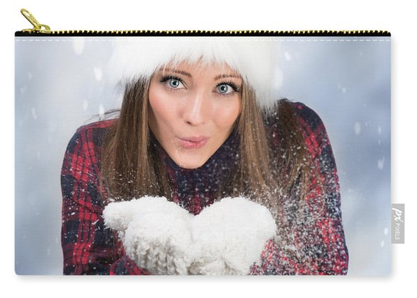 Blowing Snow In Winter Carry-all Pouch