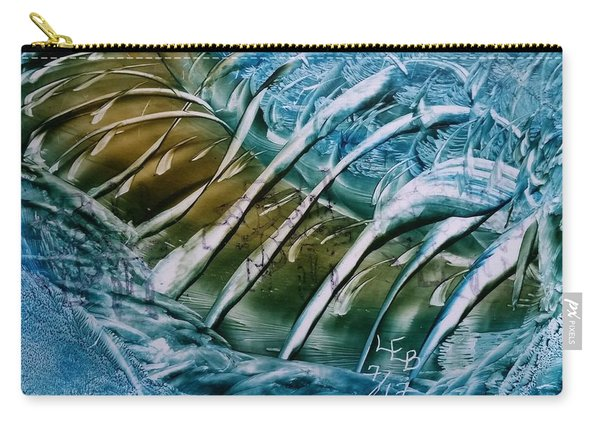 Blue Abstract Dark Ribbon Centre Carry-all Pouch