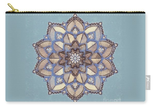 Blue And White Mandala Carry-all Pouch