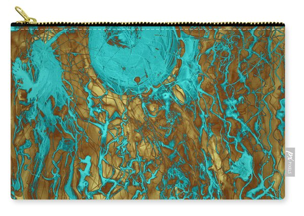 Blue And Gold Abstract Carry-all Pouch
