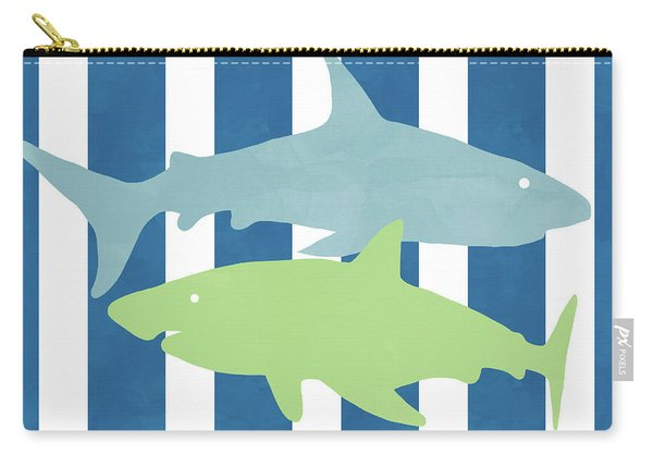 Blue And Green Sharks- Art By Linda Woods Carry-all Pouch