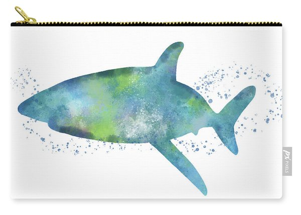 Blue And Green Watercolor Shark 1-art By Linda Woods Carry-all Pouch