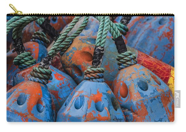 Blue And Orange Fishing Buoys Carry-all Pouch