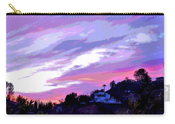Blue And Pink Clouds Ix Posterized Carry-all Pouch