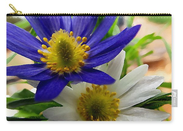 Blue And White Anemones Carry-all Pouch