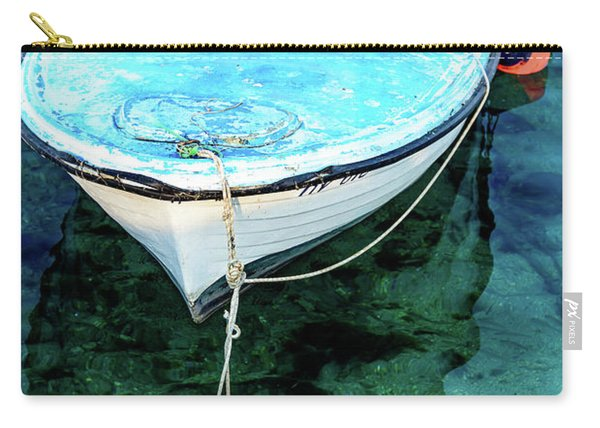 Blue And White Fishing Boat On The Adriatic - Rovinj, Croatia Carry-all Pouch