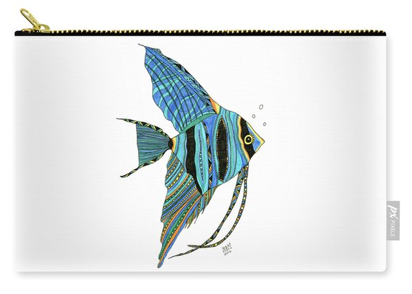 Carry-all Pouch featuring the drawing Blue Anglefish by Barbara McConoughey