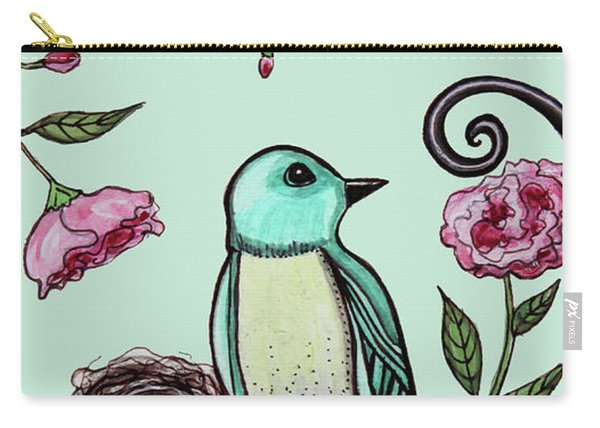 Blue Bird And Peonies Carry-all Pouch