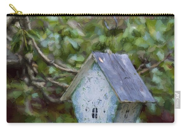 Blue Birdhouse Painterly Effect Carry-all Pouch