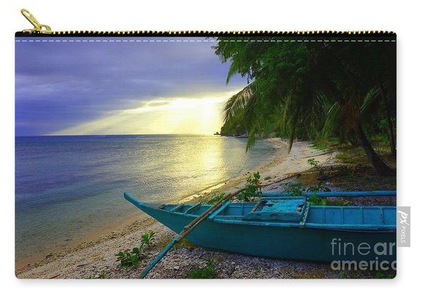 Blue Boat And Sunset On Beach Carry-all Pouch